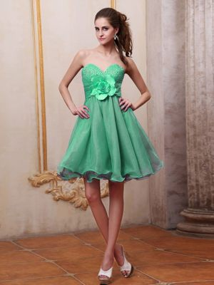 Organza Sweetheart Beading Handmade Flower Green Bridesmaid Dress
