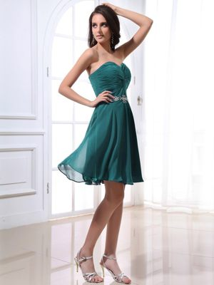 Turquoise Sweetheart Ruched Beading Mini-length Bridesmaid Dresses