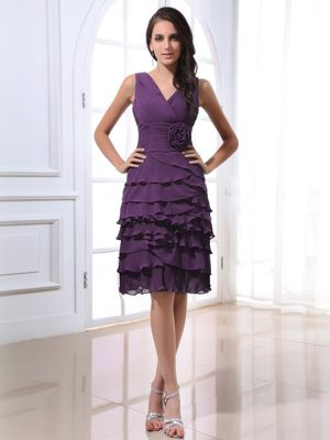 Ruffled V-neck Flowers Purple Layers South Jordan Bridesmaid Dresses