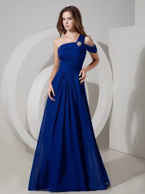 Long Peacock Blue One Shoulder Ruched Chiffon Dress for Bridesmaid