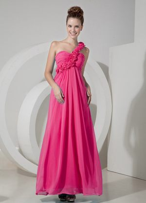 Logan Utah One Shoulder Ruches Flowers Coral Red Bridesmaid Gown