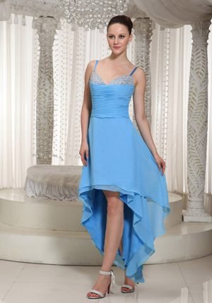 Straps Beading Ruched Layers High-low Teal Garden Bridesmaid Dress