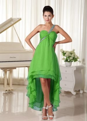 Layers High-low One Shoulder Spring Green Chiffon Bridesmaid Dresses