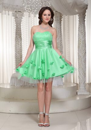 Flowers Sweetheart Beading Ruche Apple Green Tulle Bridesmaid Dress