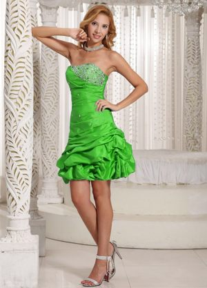 Pick-ups Strapless Ruched Bead Spring Green Taffeta Bridesmaid Gown