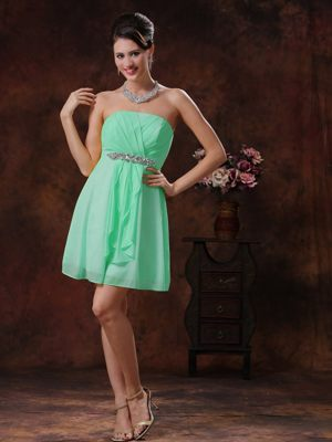 Strapless Beading Ruched Apple Green Mini-length Bridesmaid Dresses