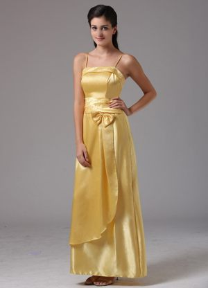 Layers Straps Bowknot Yellow Taffeta Ankle-length Bridesmaid Dresses