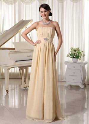 Ruched Strapless Beading Champagne Chiffon Dresses for Bridesmaid