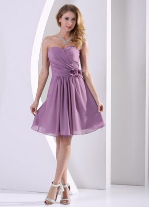 Hand Made Flowers Sweetheart Ruched Dark Purple Bridesmaid Dress