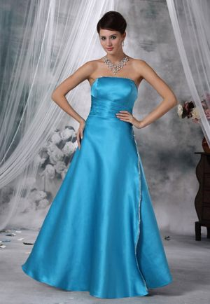 Teal Strapless Ruched Beading Satin Bridesmaid Dress in Pennsylvania