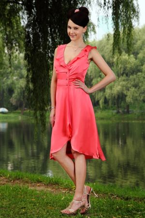 Knee-length Ruffled V-neck Beads Watermelon Beach Bridesmaid Dress