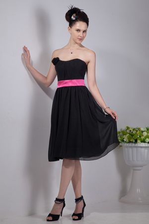 Pink Sash Strapless Black Chiffon New Hampshire Bridesmaid Gowns