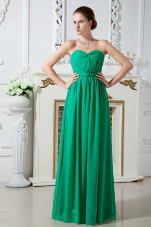 Sweetheart Ruched Green Chiffon Bridesmaid Dress for Midvale Texas
