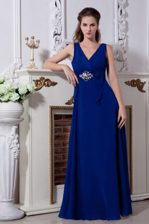 Chiffon V-neck Beading Royal Blue Long Bridesmaid Dress for Church