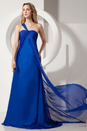 South Carolina One Shoulder Brush Train Royal Blue Bridesmaid Dress
