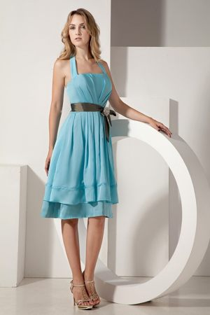 Layers Halter Ruched Sash Aqua Blue Altus Oklahoma Bridesmaid Dress