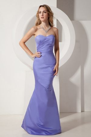 Fitted Sweetheart Ruching Lilac Zipper-up Mermaid Bridesmaid Gowns