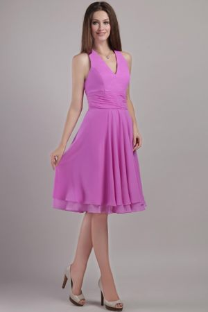 Franklin Halter Top Layers Lavender Knee-length Bridesmaid Dresses