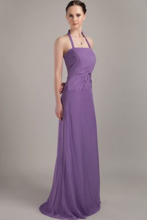 Brush Train Halter Backless Ruched Purple Chiffon Bridesmaid Gown