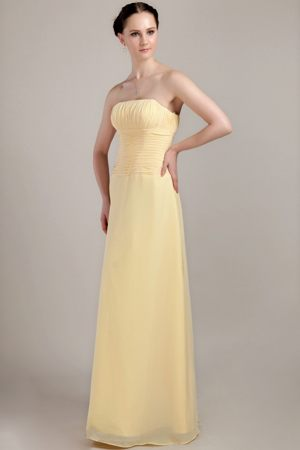 Ruched Strapless Light Yellow Flat Rock Floor-length Bridesmaid Dress