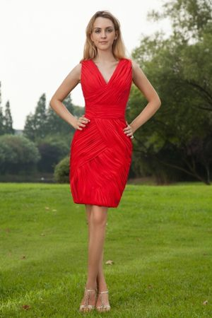 V-neck Ruched Mini-length Red Chiffon Bridesmaid Dress in Bryan Ohio