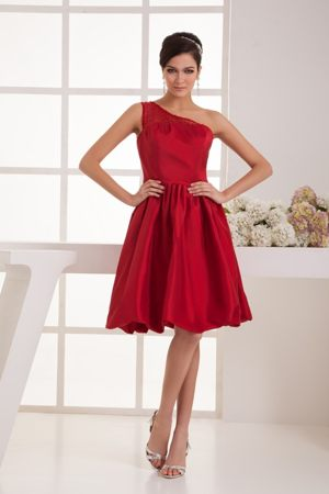 One Shoulder Beading Wine Red Taffeta Side Zipper Bridesmaid Gown