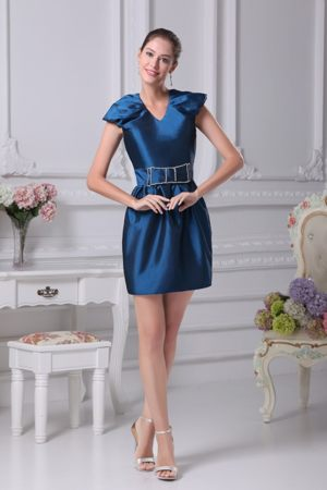 Cap Sleeves V-neck Beaded Bowknot Belt Bridesmaid Dress in America