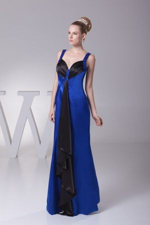 Multi-color Straps Beads Ankle-length Blue New York Bridesmaid Dress