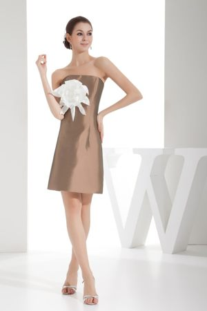 Big Flower Strapless Brown Haverford Pennsylvania Bridesmaid Dress