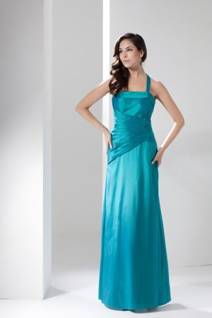 Turquoise Halter Top Ruched Ankle-length Zipper Up Bridesmaid Gown