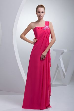 One Shoulder Beading Slit Coral Red Chiffon Church Bridesmaid Dress