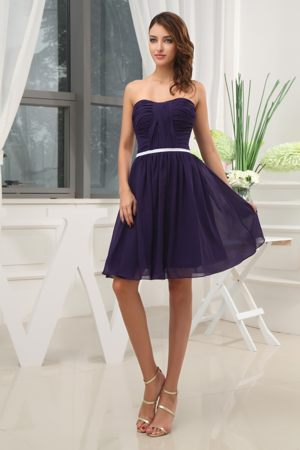 Slender Belt Strapless Ruched Purple Chiffon Garden Bridesmaid Dress