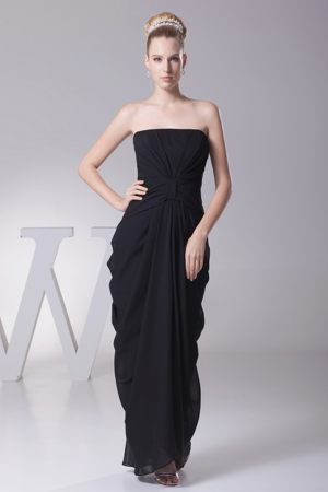 Black Strapless Ruched Zipper up Dayton Tennessee Bridesmaid Gown