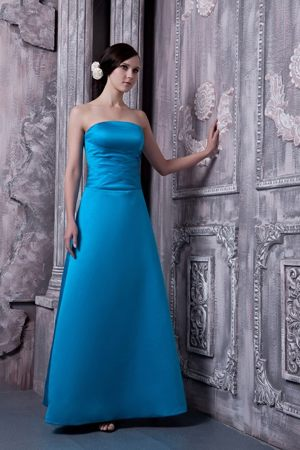Elegant Strapless Sky Blue Satin Lace Up Back Long Bridesmaid Dress