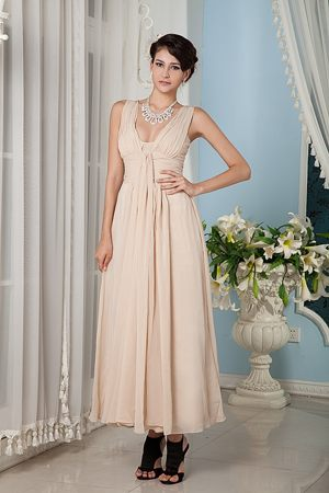 Ankle-length Straps Ruched Champagne Carrollton Bridesmaid Gowns