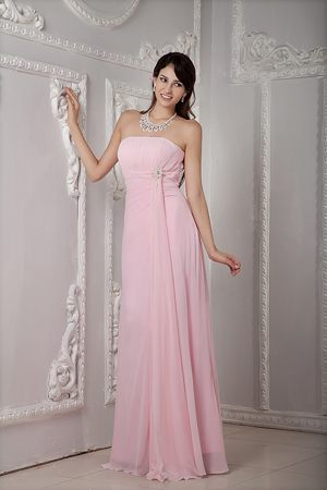 Beading Strapless Baby Pink Chiffon Bridesmaid Dresses for Wedding