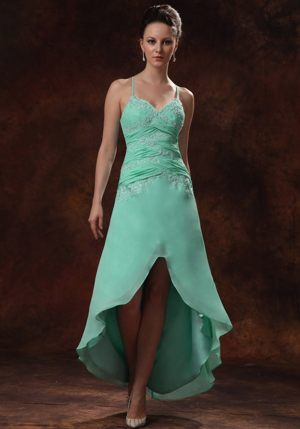 Ruched Straps Appliques Apple Green High-low Dresses for Bridesmaid