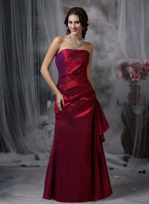 Appliques Strapless Wine Red Taffeta West Virginia Bridemaid Dresses