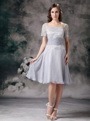 Short Sleeves Square Neck Lace Bridemaid Dress for Casper Wyoming