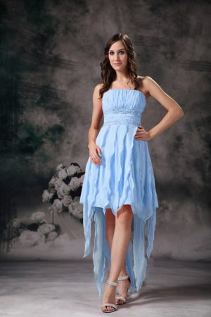 High Low Strapless Ruches Beading Light Blue Beach Bridesmaid Gown