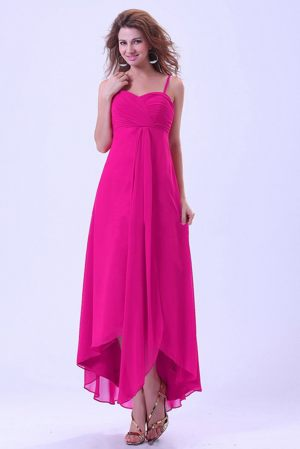 Asymmetrical Hem Straps Hot Pink Bridemaid Party Dresses in Lansing