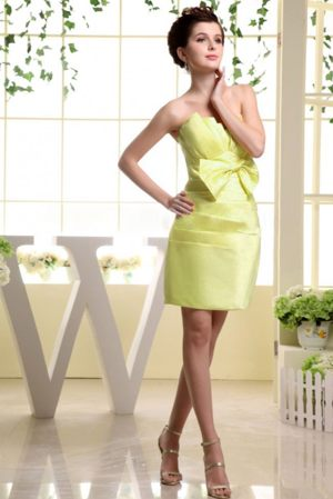 Bowknot Strapless Ruched Bust Yellow Zipper-up Bridesmaid Dresses
