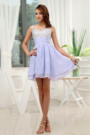 Lilac Straps Beading Mini-length Layers Church Bridesmaid Dresses