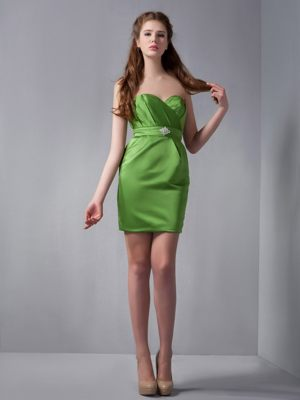Mini-length Sweetheart Beading Spring Green Taffeta Bridesmaid Dress