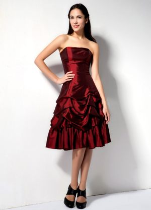 Pick Ups Strapless Knee-length Burgundy Taffeta Bridesmaid Dresses