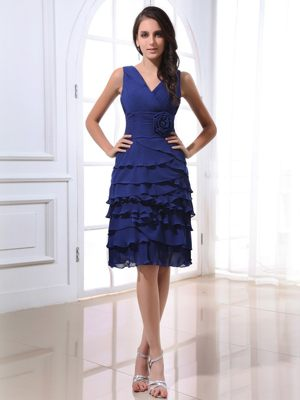 Handmade Flowers V-neck Royal Blue Ruffled Layers Bridesmaid Gown