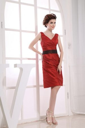 V-neck Black Sash Wine Red Taffeta Zipper Up Formal Bridesmaid Dress