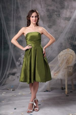 Knee-length Strapless Bowknot in Back Olive Green Bridesmaid Dresses