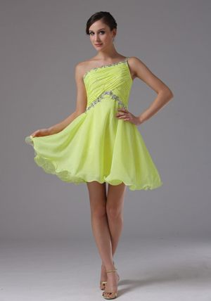 Yellow Green One Shoulder Ruched Beading Dresses for Bridesmaids