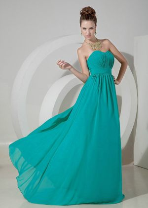 Ruches Sweetheart Teal Brush Train Chiffon Garden Bridesmaid Dress